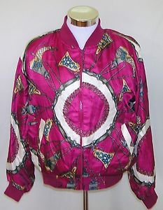 Jacqueline Ferrar Women's Vintage Scarf Print Light Full Zip Jacket Size OSFM