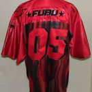 FUBU Brand Vintage Men's Hip Hop 90's Shiney Red Black Football Jersey Size XXL