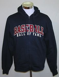 Baseball Hall Of Fame Gear For Sports Hooded Cotton Full Zip Jacket Size Small
