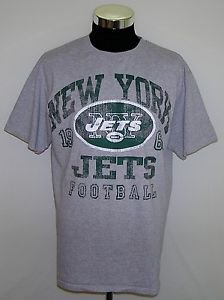 New York Jets 1960 Football NFL Team Apperal Mens Gray Cotton T-Shirt Size Large