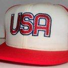 USA Team Soccer US Olympics Vintage 80's AJD Red Trucker Mesh Snapback Hat Cap