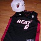 Lebron James Miami Heat #6 Jersey Bonus Custom New Era James Hat Youth Size L