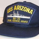 USS Arizona BB-39 Pearl Harbor Hawaii US Navy Blue Snapback Hat Cap Aloha