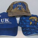 University of Kentucky Wildcats NCAA Lot of 3 Hats Velcro Snapback Fitted Hat
