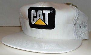 CAT Caterpillar Classic White Emblem Patch Vintage Trucker Snapback Hat Cap New