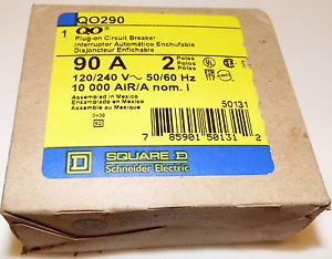 Square D QO290 90 Amp Plug On Circuit Breaker Brand New In The Box 120/240