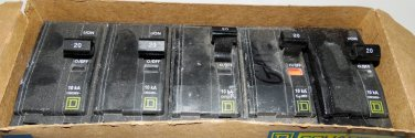 Square D QO220 20 Amp Lot of 5 2-Pole Plug On Circuit Breakers 120/240V