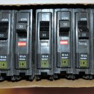 Square D QO130 30 Amp Lot of 9 Single-Pole Plug On Circuit Breakers 120/240V