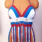 Crochet American Flag Fringe Top by Vikni Crochet Designs