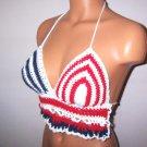 Vikni Crochet American Flag Hippie Halter Top