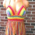 Vikni Crochet Rainbow Music Festival Lace up Fringe Halter Top