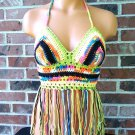 Gypsy Colorful Crochet Fringe Halter Top by Vikni Crochet Designs