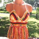 Gypsy Multicolor Crochet Fringe Halter Top by Vikni Designs