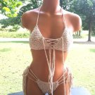 Nude Tan Blend Cheeky Crochet Brazilian Bikini by Vikni Designs