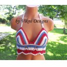 Vikni Crochet Amecican Flag Hippie Halter Top