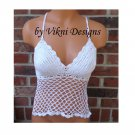 White Lace Crochet Halter Top by Vikni