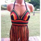 Music Festival Boho Crochet Fringe Top in Black, Red, Orange, Green by Vikni Crochet Designs