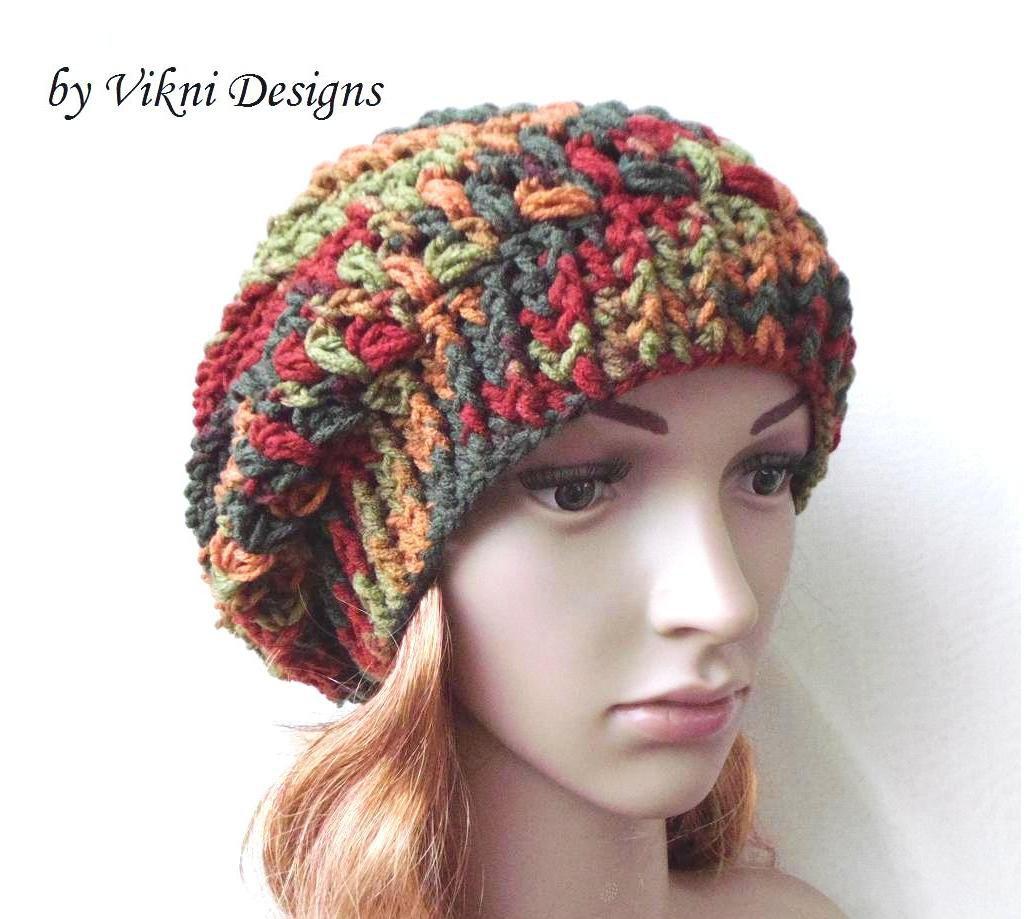 Autumn Slouchy Crochet Hat by Vikni Crochet Designs