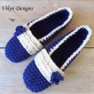 Blue Crochet Slippers, Women's Indoor House Shoes by Vikni