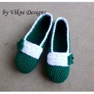 Green Crochet Slippers, Women's Indoor House Shoes by Vikni