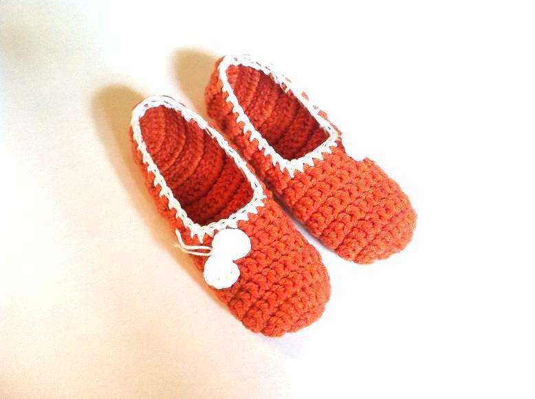 Orange Crochet Slippers, Women's Indoor House Shoes by Vikni