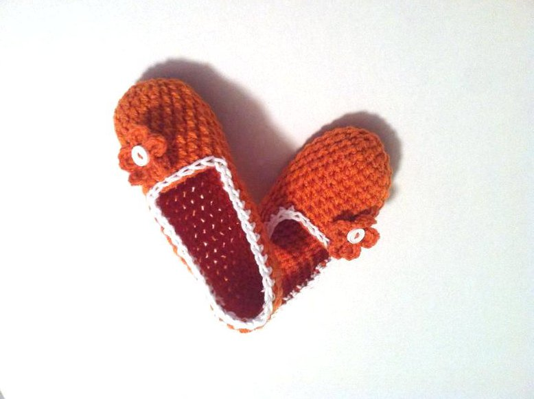 Orange Crochet Slippers, Women's Indoor House Shoes by Vikni