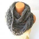 Infinity Women Scarf, Grey Crochet Cowl Scarf by Vikni Crochet