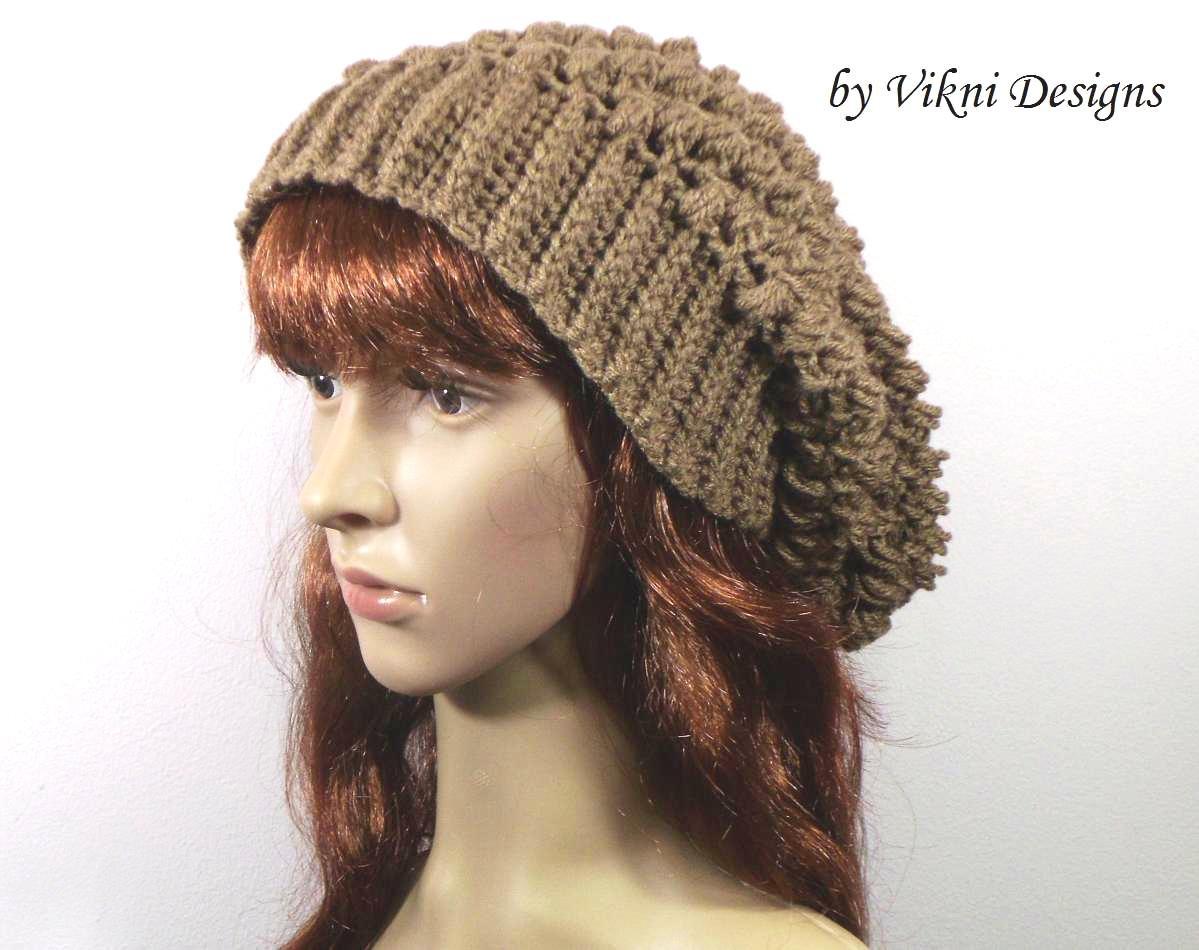 Crochet Slouchy Crochet Hat Beanie in Cafe Latte by Vikni Crochet Designs
