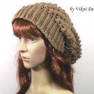 Crochet Slouchy Crochet Hat Beanie in Cafe Latte by Vikni Crochet Designs
