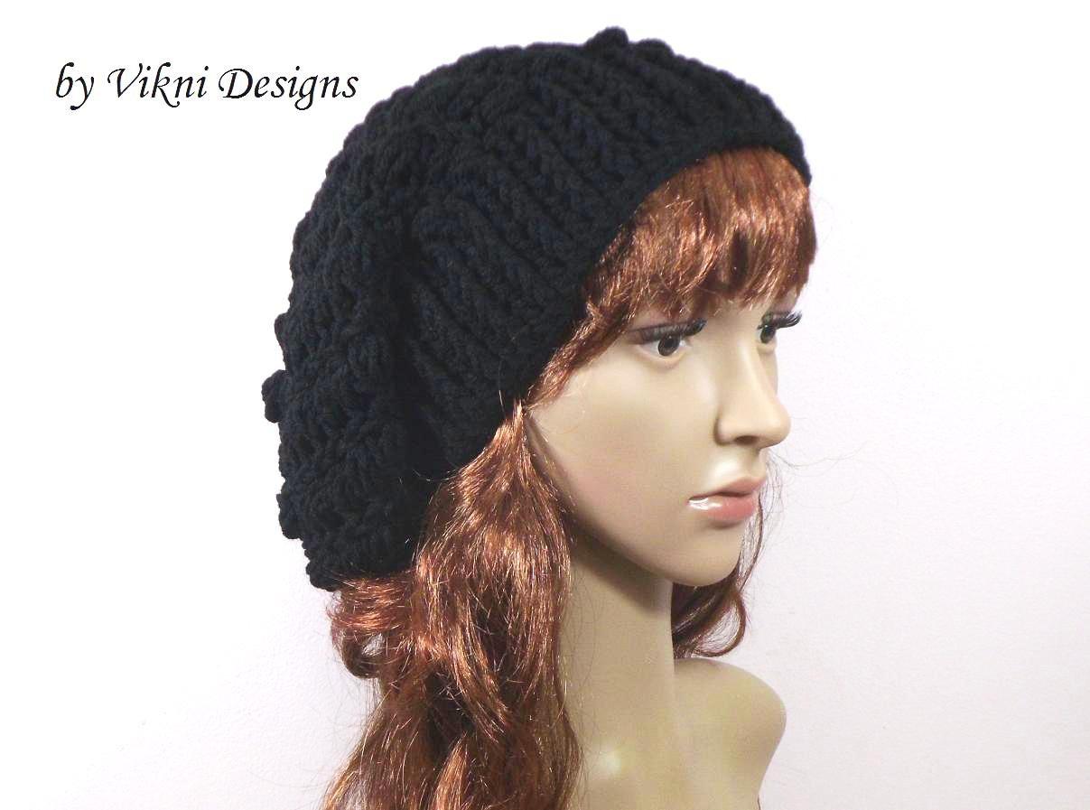 Crochet Slouchy Crochet Hat Beanie in Black by Vikni Crochet Designs