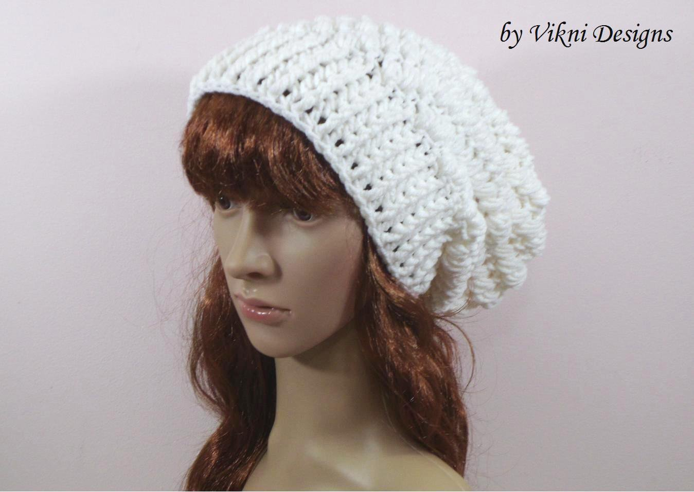 Crochet Slouchy Crochet Hat Beanie in White by Vikni Crochet Designs