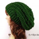 Crochet Slouchy Crochet Hat Beanie in Green by Vikni Crochet Designs