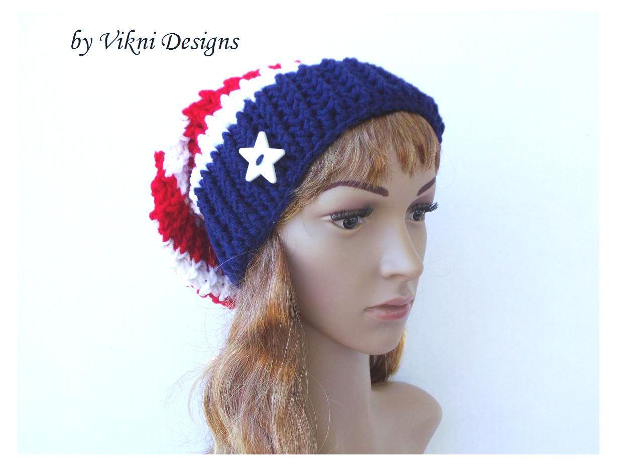 Crochet Slouchy Crochet Hat Beanie in Red, White, Blue by Vikni Crochet Designs
