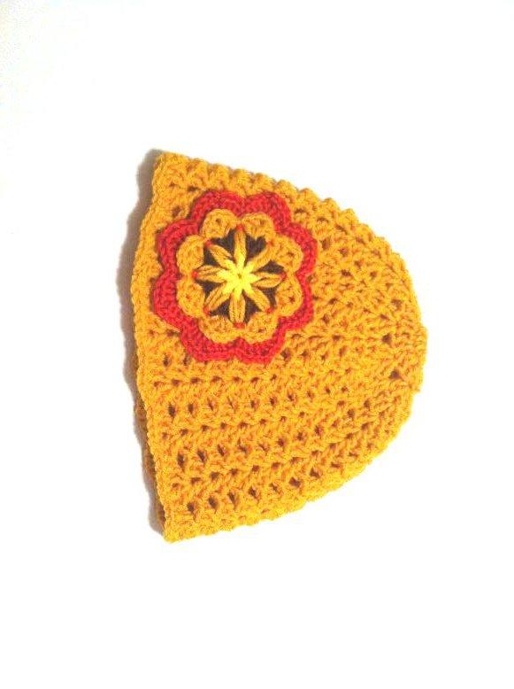 Crochet Hat Beanie in Gold Mustard by Vikni Crochet Designs