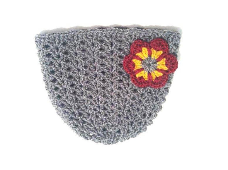 Crochet Hat Beanie in Grey by Vikni Crochet Designs
