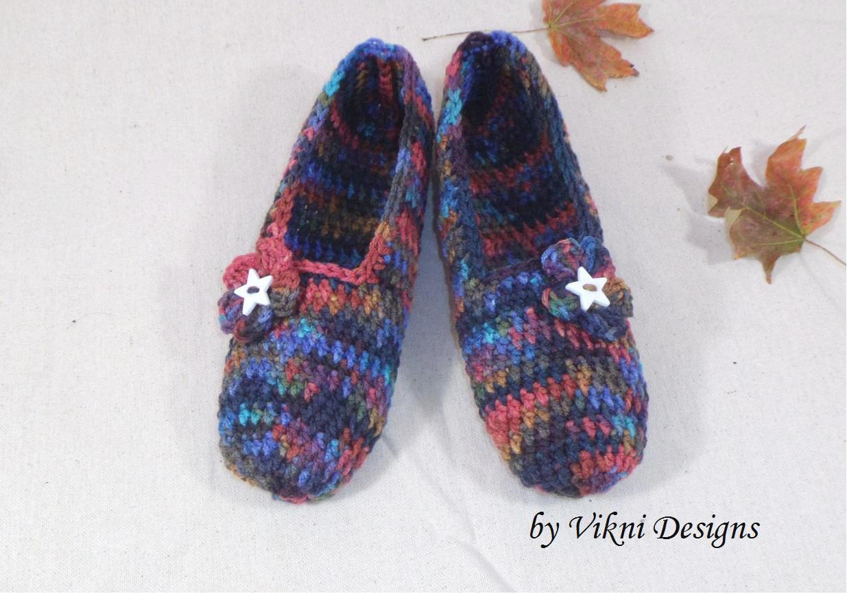 Earthy Crochet Slippers, Women's Indoor House Shoes by Vikni