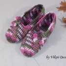 Colorful Pink Crochet Slippers, Women's Indoor House Shoes by Vikni