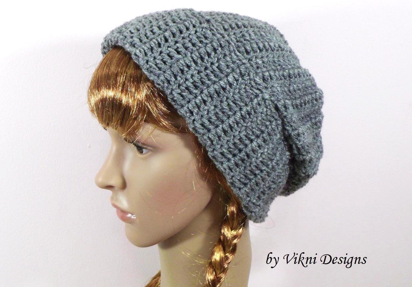 Unisex Crochet Hat Beanie in Gray, Mens Hat, Mens Beanie, Womens Hat Beanie by Vikni Crochet Designs