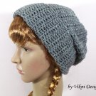 Unisex Crochet Hat Beanie in Gray, Mens Hat, Mens Beanie, Womens Hat Beanie by Vikni Crochet Designs