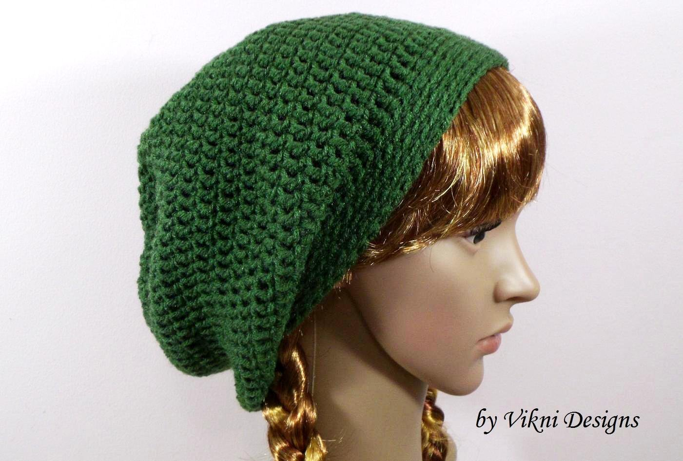 Green Slouchy Crochet Hat Beanie, Womens Slouchy Hat by Vikni Crochet Designs