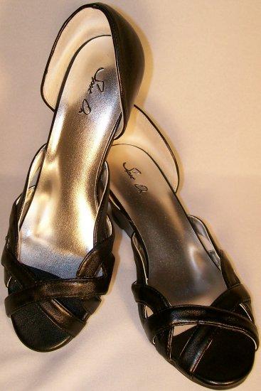 80's style kitten wedge peep toe black shoes size 10