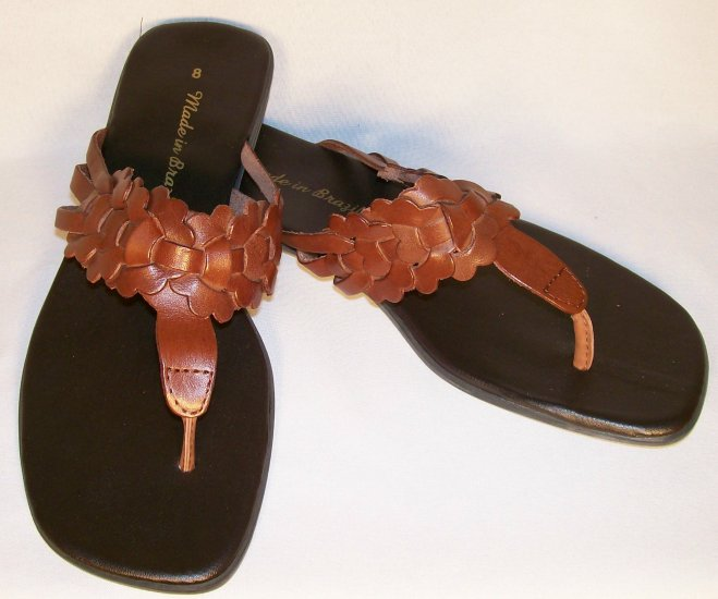 leather brown flat sandals size 8