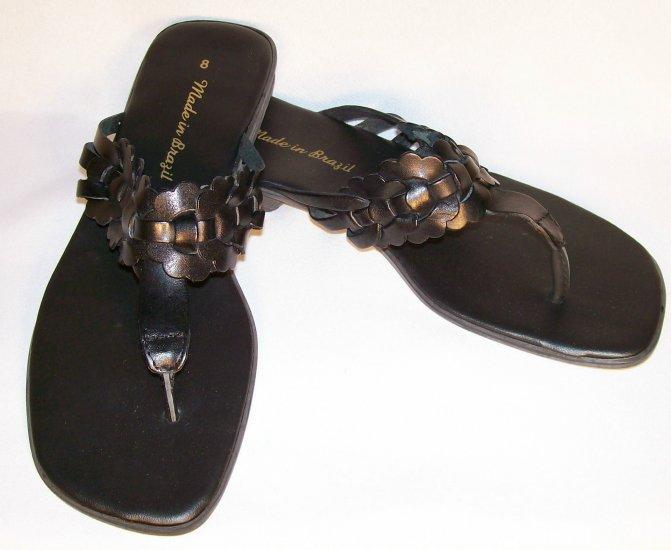 black leather flat sandals size 8