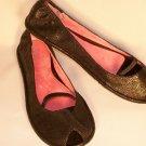 black ballet flats open toe size 8