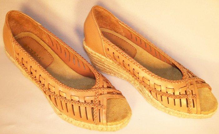 bamboo brand tan wedge espedrailles open toe size 8.5