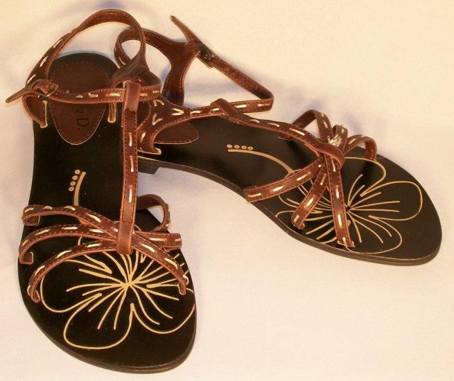 jeffrey d t-strap flat brown sandals size 9