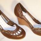 wedge round toe heels brown size 9