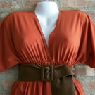OutFitKit kimono sleeve bold orange v-neck empire waist dress fall colors with accessories