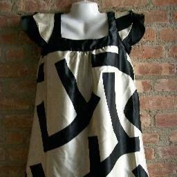 OutFitKit babydoll satin mod graphic black cream mini dress with accessories