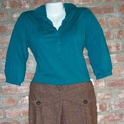 OutFitKit brown wide leg pants aqua three quarter puff sleeve blouse with accessories